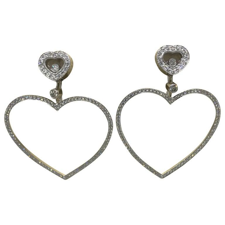 Chopard Happy Diamonds Hearts 18 Karat White Gold and Diamonds Large Earrings