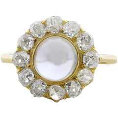 Antique Moonstone Diamond Gold Ring