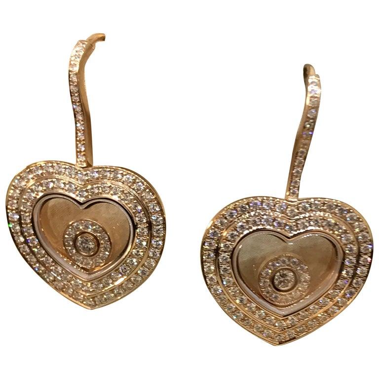 Chopard Happy Diamonds 18 Karat Gold and Diamond Heart Earrings 83/7209-5001