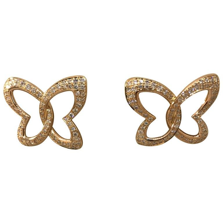 Chopard Women's 18 Karat Gold and Diamond Butterfly Stud Earrings 83/7445-5002