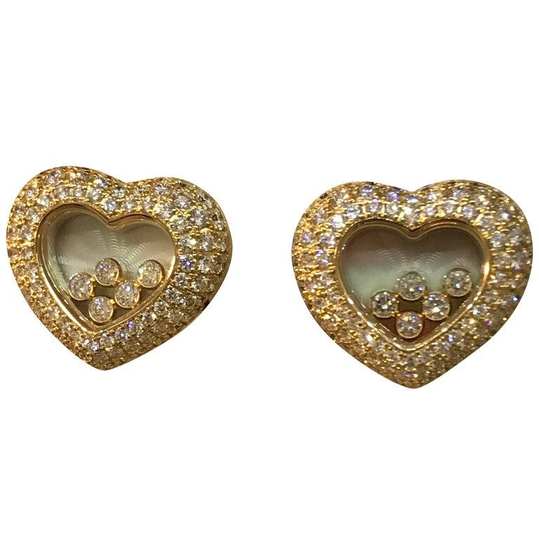 Chopard Happy Diamonds 18 Karat Yellow Gold and Diamond Large Heart Earrings