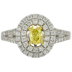Fancy Intense Certified Diamond Engagement Ring 1.21 Carat Oval Halo Pave'