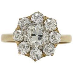 Antique Victorian Diamond Engagement Ring Cluster Certified 2.48 Old European