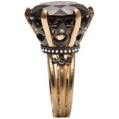 Smoky Quartz Sa'mma Statement Ring in Vermeil Gold