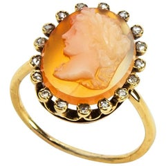 Antique Stone Cameo Gold Ring