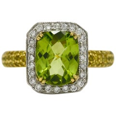 Peridot Diamond Halo Platinum 18 Karat Engagement Ring Cocktail