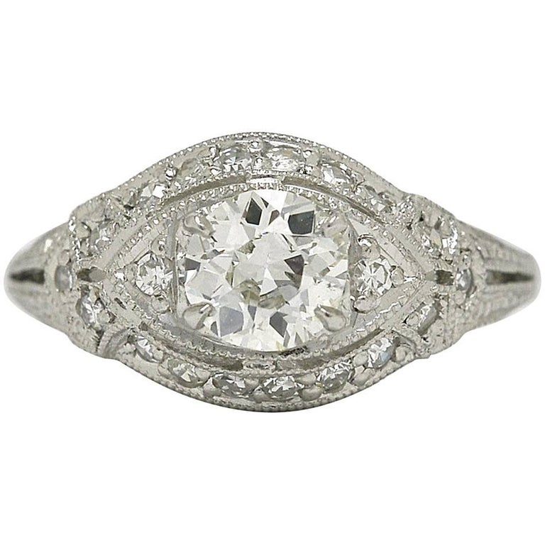 Antique Diamond Platinum Art Deco Engagement Ring Geometric Filigree Dome Eye