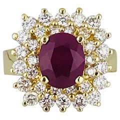 3.50 Carat Burmese Ruby, 1.50 Carat VS Diamond, Contemporary 18 Karat Gold Ring