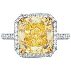 6.12 Carat Fancy Intense Yellow Cushion Cut Diamond Ring
