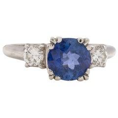 Ceylon Sapphire Diamond Ring, circa 1950s