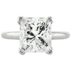 Mark Broumand 5.29 Carat Princess Cut Diamond Solitaire Engagement Ring