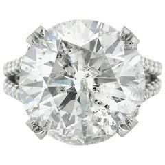 Mark Broumand 14.53 Carat Round Brilliant Cut Diamond Engagement Ring