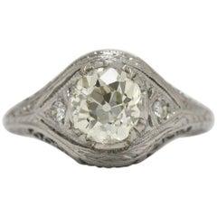 Art Deco Cushion Diamond Platinum Engagement Ring Filigree 1.37 Old Mine Cut Gem