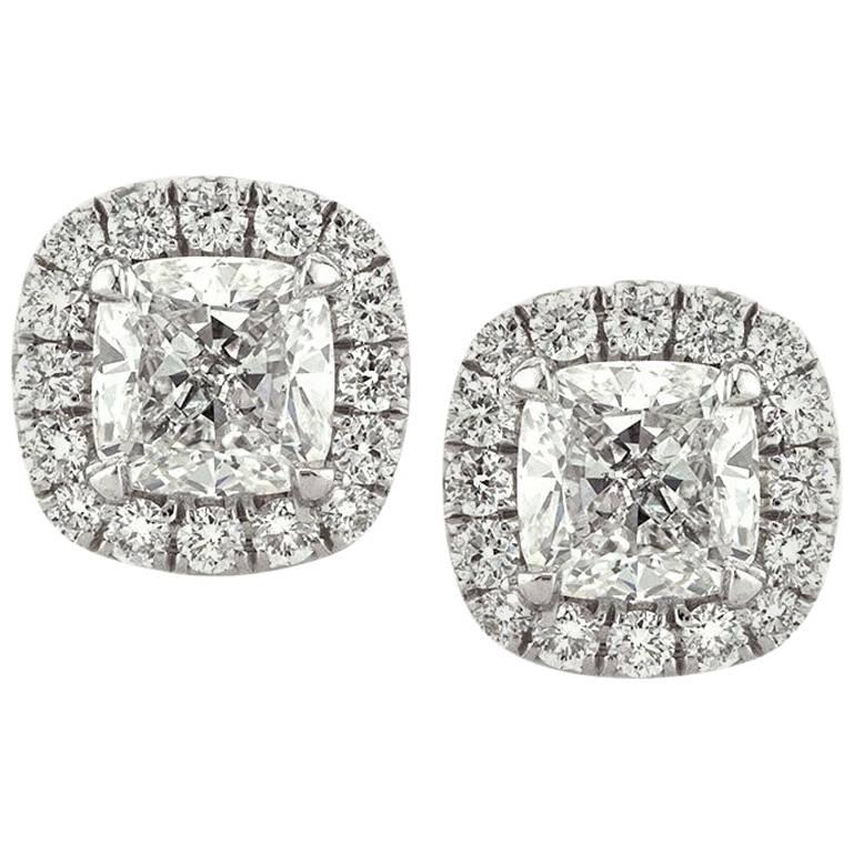 Mark Broumand 1.30 Carat Cushion Cut Diamond Halo Earrings