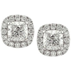 Mark Broumand 1.30 Carat Cushion Cut Diamond Halo Earrings