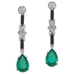 Pair of Deco Style Emerald, Diamond and Onyx Drop Earrings
