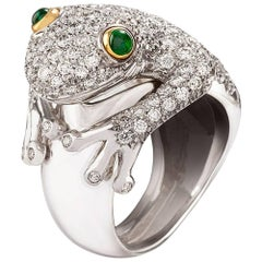 Missiaglia1846 White Gold Diamonds and Emeralds Frog Ring