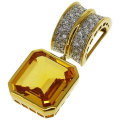 Mikimoto Yellow Sapphire Diamond Pendant Top 14 Karat White Gold Charm