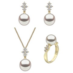Yoko London Pearl and Diamond Earring, Ring and Pendant Suite in 18 Karat Gold