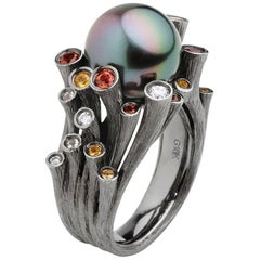 Fei Liu Tahitian Pearl 18 Karat Black Gold Cocktail Ring