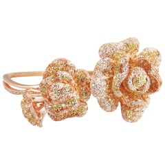 Fei Liu Peony High Polish with Rose Gold Cubic Zirconia Silver Bangle Bracelet