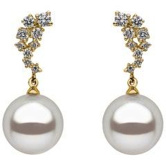 Yoko London South Sea Pearl and Diamond Drop Earrings set on 18K Yellow Gold