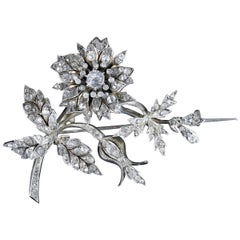 Antique French Flower Brooch Victorian Trembler Silver Paste, circa 1880
