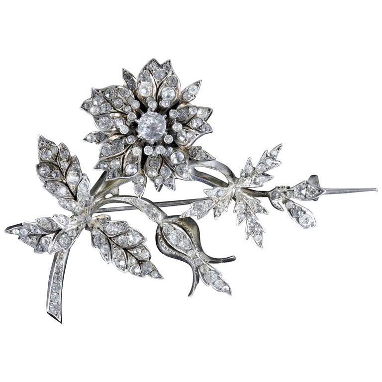 Antique French Flower Brooch Victorian Trembler Silver Paste, circa 1880