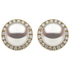 Yoko London Pearl and Diamond Cluster Stud Earring Set on 18 Karat Yellow Gold