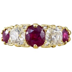 Antique Victorian 18 Carat Gold Ruby and Diamond Five-Stone Ring