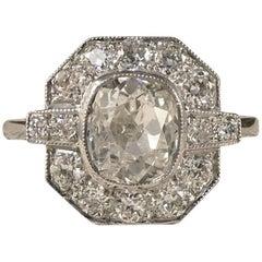 Contemporary 1.36 Carat Centre Diamond Cluster Ring in Platinum
