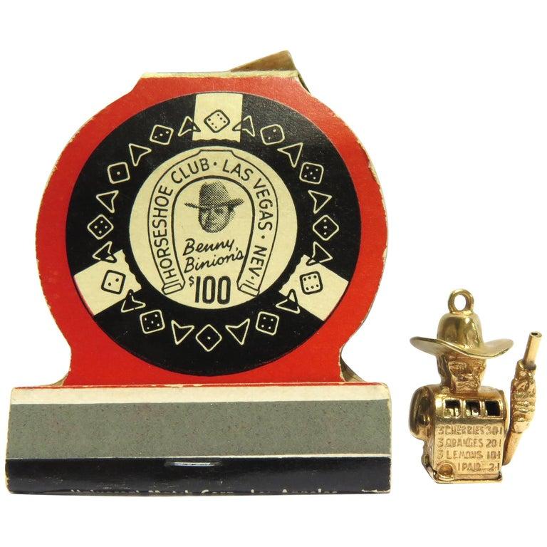 Rare Gambling Working Gold Cowboy Slot Machine Charm from Benny Binions Casino