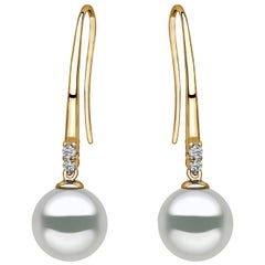 Yoko London South Sea Pearl and Diamond Drop Earrings Set on 18 Karat Gold