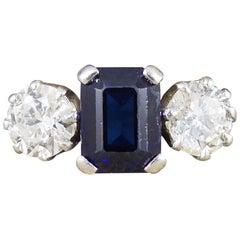 Art Deco Sapphire and Diamond Three-Stone Ring Set in 18 Carat White Gold
