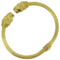 Lalaounis 18 Carat Yellow Gold Double-Headed Lion Bangle