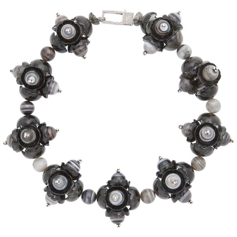 Agate Smokey Quartz Silver Necklace