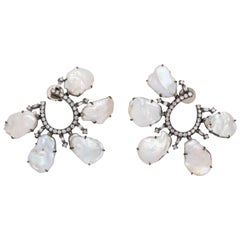 Pearl Diamond Petal Earrings