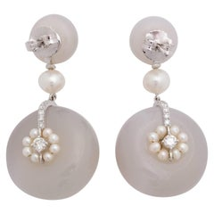 Agate Pearl Diamond Pinwheel Earrings