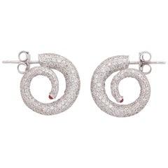 Gold Diamond Ruby Horn Earrings
