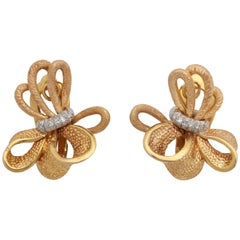 1960's Ribbon Bow Knot Diamond With Two Different Textured Gold Earclips