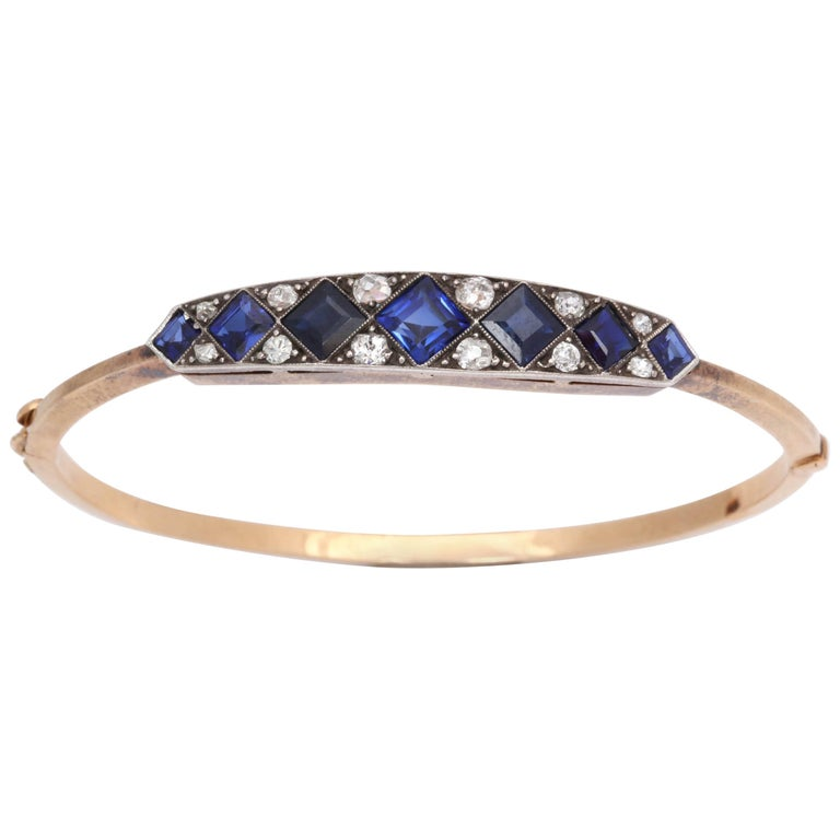 Edwardian Step Cut Sapphires with Diamonds Platinum and Gold Bangle Bracelet
