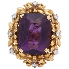 1950's Floral Design Amethyst With Diamonds Rope Setting Gold Cocktail Ring