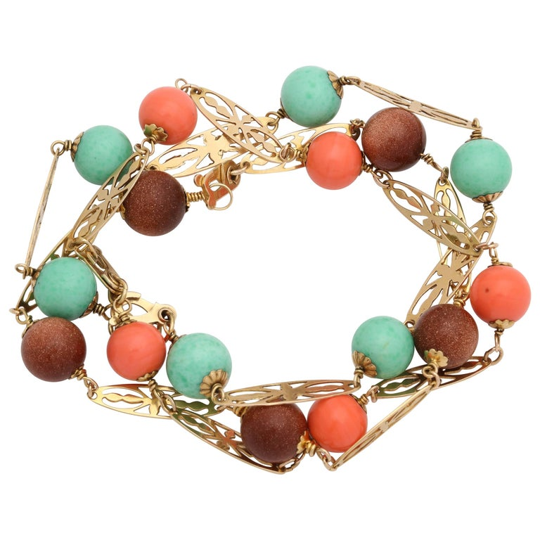 1950s Delicate Coral, Turquoise and Gold Stone Bead Triple Gold Link Bracelets