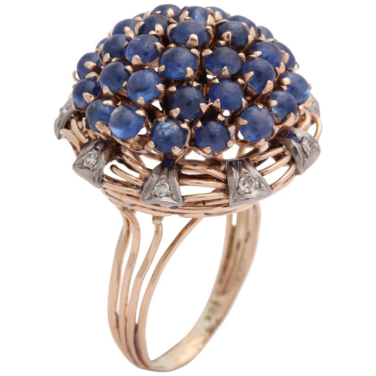 1940s Cabochon Sapphires with Diamonds Floral Gold Cluster Bombe Ring