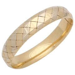 Tiffany & Co. Diamond Pattern Design Gold Bangle Bracelet with Invisible Lock