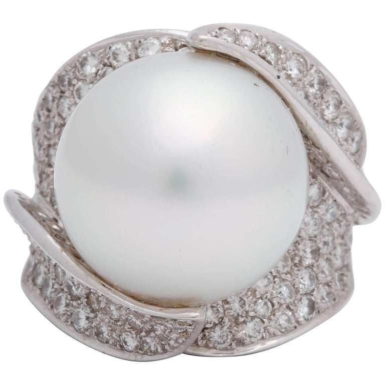 1980s Sculptural South Sea Pearl with Diamonds Large Gold Cocktail Ring