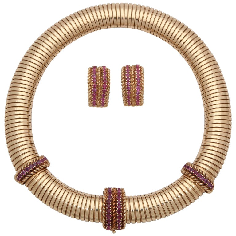 1940s Tubular, Ruby and Gold Tubogas Necklace with Matching Earrings En Suite