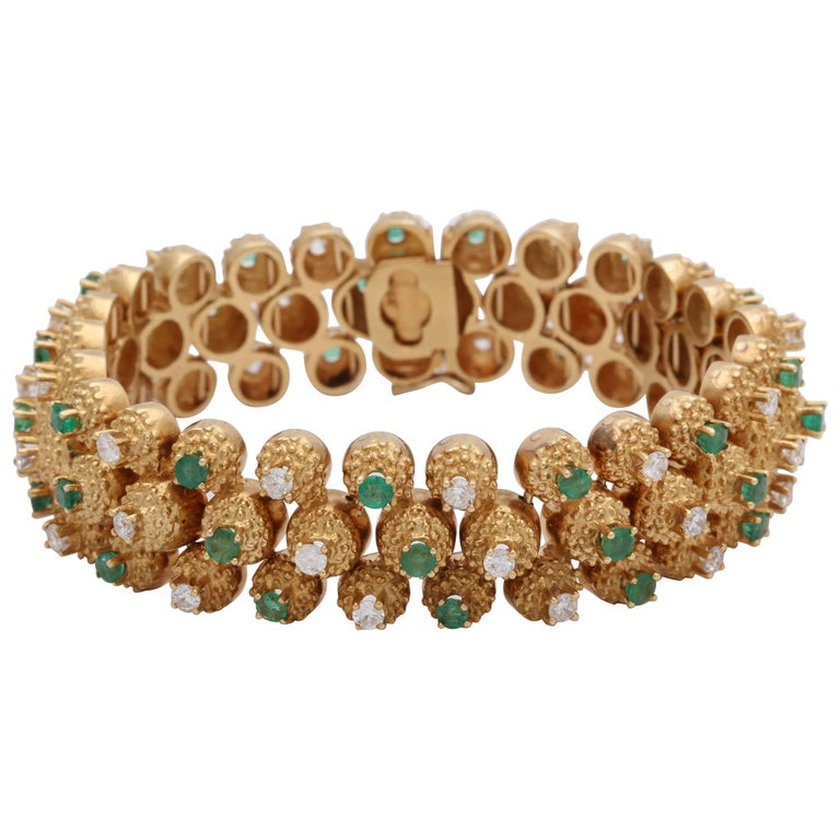 1960s Highly Flexible, Articulated Emerald and Diamond Triple-Row Gold Bracelet