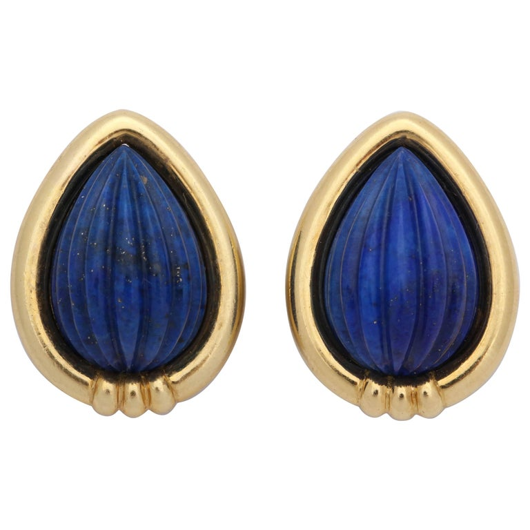 Tambetti 1980s Pear Shaped Fluted Lapis Lazuli Clip-On Gold Earrings