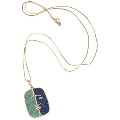 1970s Lapis Lazuli and Malachite with Face Double-Sided Gold Pendant and Chain